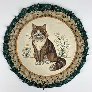 Embroidery Hoop Cat with Floral and Crochet Detail